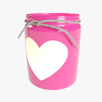 valentine day heart jar 3d model