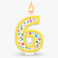 3d model realistic number candles 6