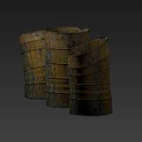 3d low-poly barrels model