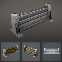 concrete fence 3d model