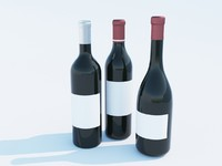 3d model of wine bottles