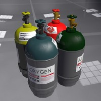 3d low-poly gas cylinders pack