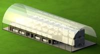 3d aquaponic greenhouse model