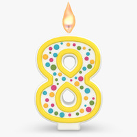 realistic number candles 8 3d model