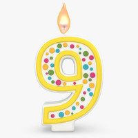 fbx realistic number candles 9