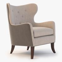 wingback chair simon 3d max
