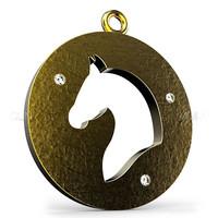 3d flat horse pendant