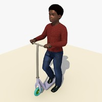 african boy riding scooter 3d model