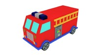 cartoon firetruck toy 3d model