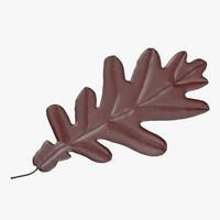 3d red oak leaf model