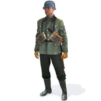 3d model of rig soldier ww2 german