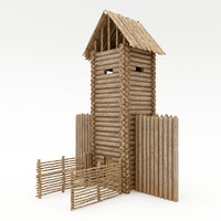 3d wood tower model