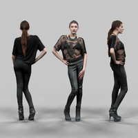 3d sexy girl leather pants model