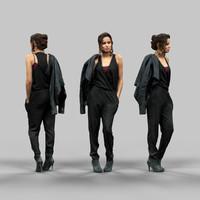 3d girl black model