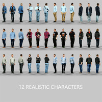 3d 12 realistic characters
