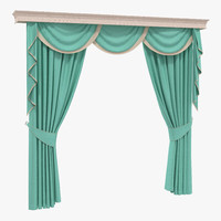 3d model curtain 6 green