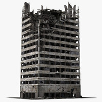 3d destroyed ruined building model