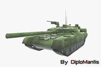 3d soviet tank t-80 model