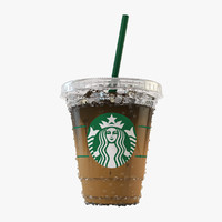 3d starbucks latte realistic model