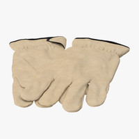 3d model leather working gloves 02