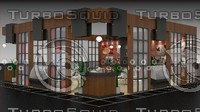 3d model of bistro booth design