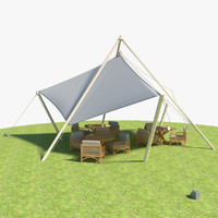 tent tables chairs 3d max