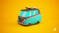 c4d cartoon van