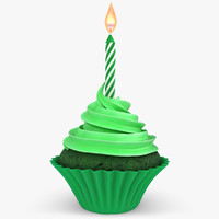 max realistic cupcake candle green