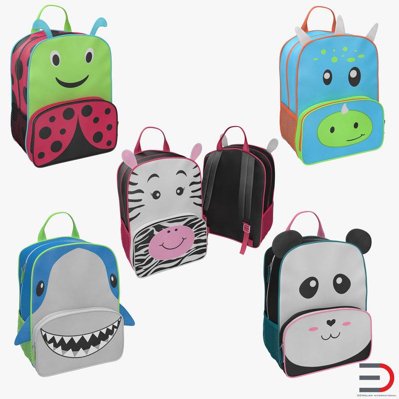 Kid Backpacks Collection 3d models 00.jpg