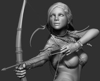 3d model of realistic zbrush woman archer