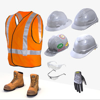 Safety Boots, Vest, Helmet, Glasses, Gloves PPE