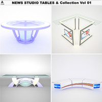 news studio tables vol 3d model