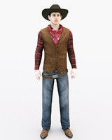 3d model realistic cowboy