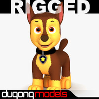 3d model dugm06 rigged cartoon dog