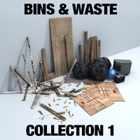 3d model of bins waste