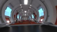futuristic sci-fi hallway 3d 3ds