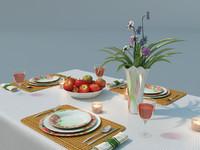 dinner set table 3d model