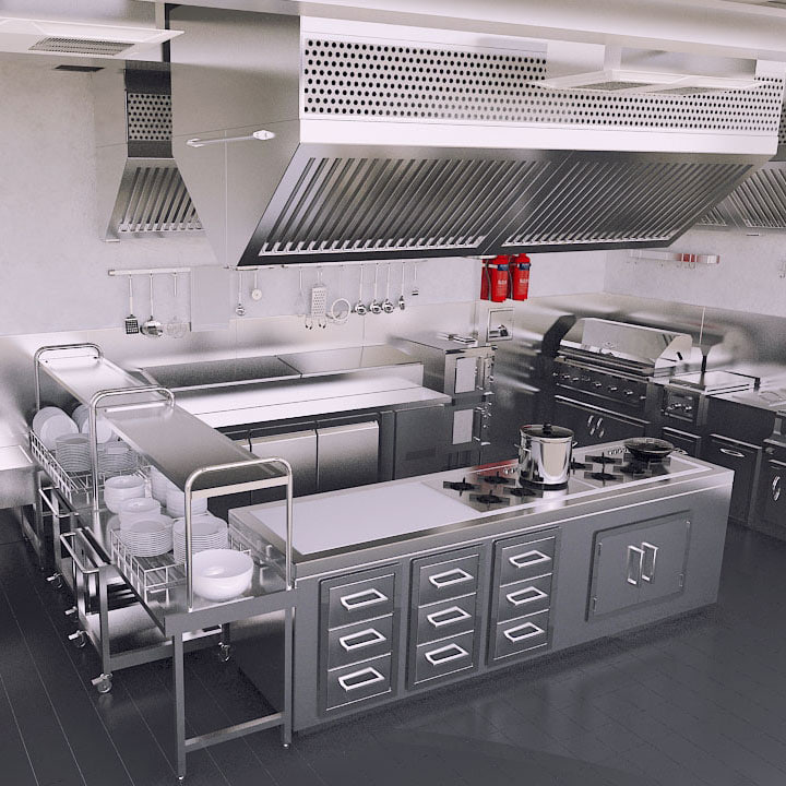 3d Commercial Kitchen Model