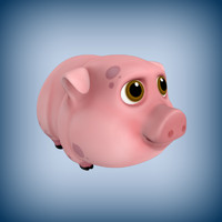 cartoon pig toon 3d model