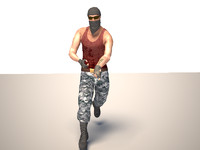 3d terrorist character mercenary model