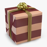 3d model giftbox 2 gold