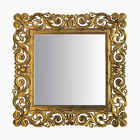 3d gold square mirror