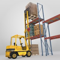 3d model forklift boxes pallets crates