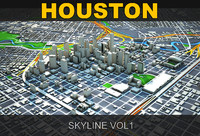3d houston skyline
