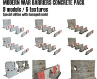modern war barriers concrete 3d model