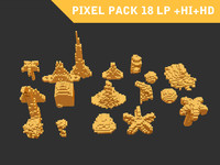 3d abstract pixel art pack model