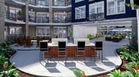 3D Exterior Courtyard Design Rendering