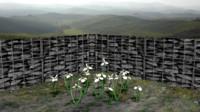 white iris flower 3ds
