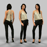 girl black pants golden 3d model