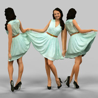 3d obj girl lifting green dress